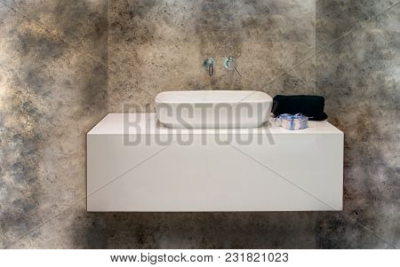 Marble Bathroom In Modern Style  With Towel Detail.interior Architecture