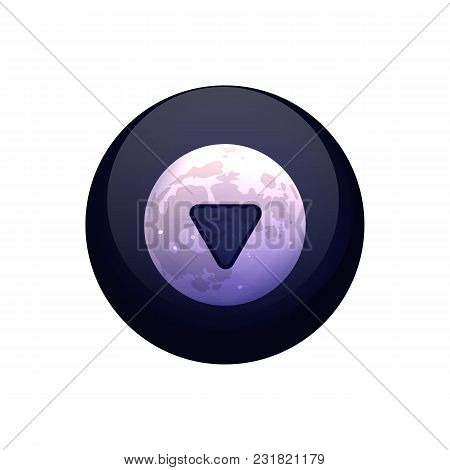 Magic Ball Of Predictions. Vector Illustration. The Dark Sphere With The Moon On A White Background.