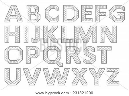 Vector Alphabet Set. Gray Letters On A White Background