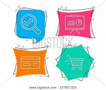 Set Of Credit Card, Presentation And Analytics Icons. Delivery Shopping Sign. Card Payment, Board Wi