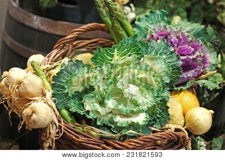 Variety Of Vegetables Presented In A Wicker Basket, Close-up