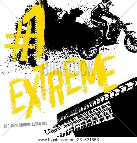 Off-road Motorcycle Elements Useful For Rally, Race Poster, Placard, Print, Leaflet Design. Editable