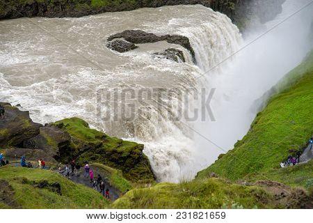 Gullfoss Waterfall, Iceland - July 19, 2017: Gullfoss,  Most Spectacular Waterall, Two Cascades On T