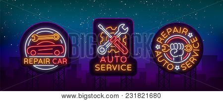 Auto Service Repair Collection Of Logo In Neon Style. Set Of Neon Sign, Symbol On The Topic Of Repai
