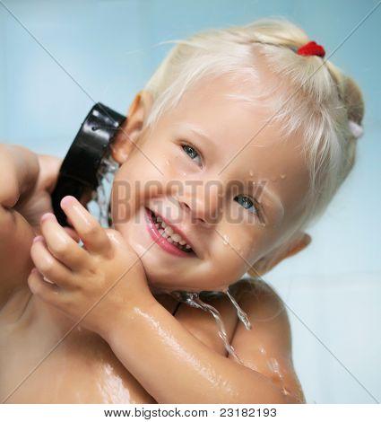 baby child girl in bath