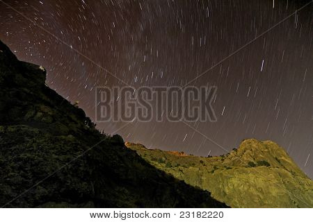 Night Sky With Star Tracks