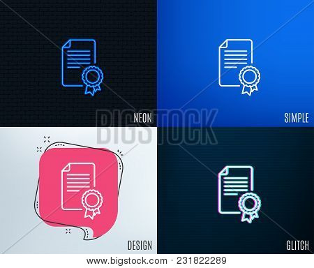 Glitch, Neon Effect. Certificate Medal Line Icon. Diploma Achievement Symbol. Document With Approved