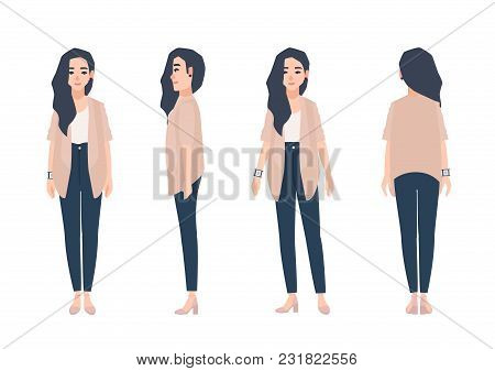 Young Smiling Woman With Loose Long Brunette Hair Dressed In Casual Clothing Isolated On White Backg