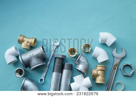 Various Plumbers Tools And Plumbing Materials Including Stainless Steel And Plastic Pipe, Elbow Join