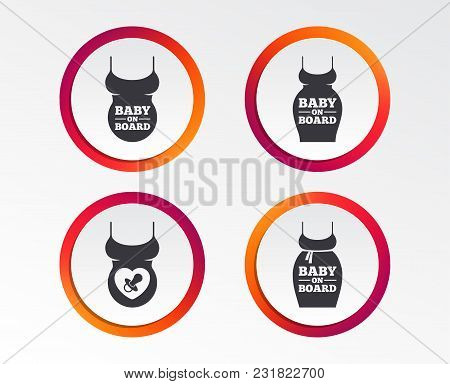 Baby On Board Icons. Infant Caution Signs. Child Pacifier Nipple. Pregnant Woman Dress With Big Bell