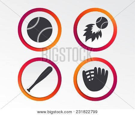Baseball Sport Icons. Ball With Glove And Bat Signs. Fireball Symbol. Infographic Design Buttons. Ci