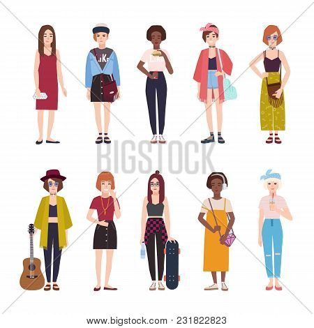 Collection Of Teenage Girls Dressed In Trendy Clothing. Set Of Young Modern Female Teenagers In Styl