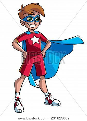 Full Length Illustration Of A Superhero Boy Smiling Happy While Wearing A Blue Cape Against White Ba