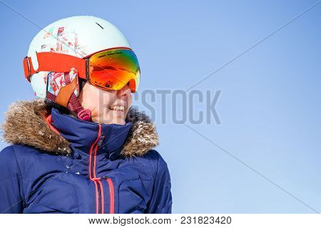 Image Of Female Athlete In Mask And Helmet On Blue Sky Background