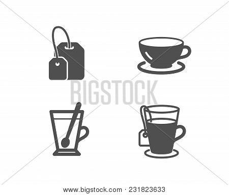 Set Of Tea Mug, Tea Bag And Espresso Icons. Cup With Teaspoon, Brew Hot Drink, Coffee Cup. Glass Mug