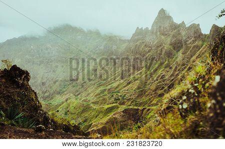 Harsh Rugged Mountain Peaks Of Xo-xo Valley Overgrown With Verdant Grass. Santo Antao Island, Cape V