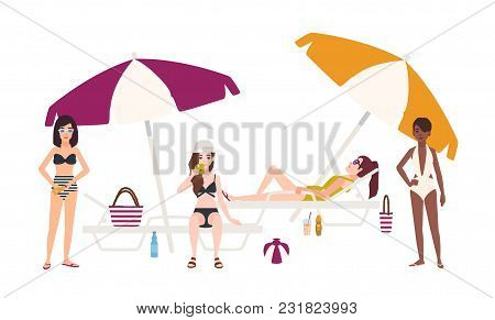 Cute Girls Dressed In Swimsuits Lying And Sitting On Sunloungers With Umbrellas Or Standing Beside I