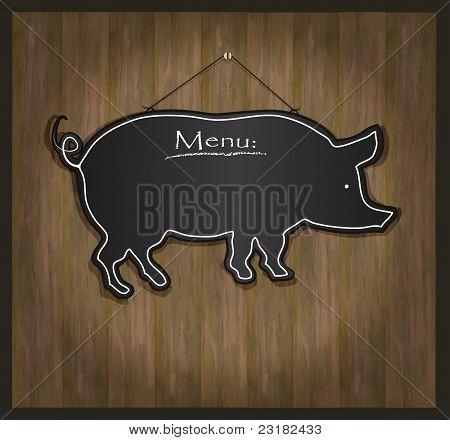 raster Blackboard pig restaurant menu card