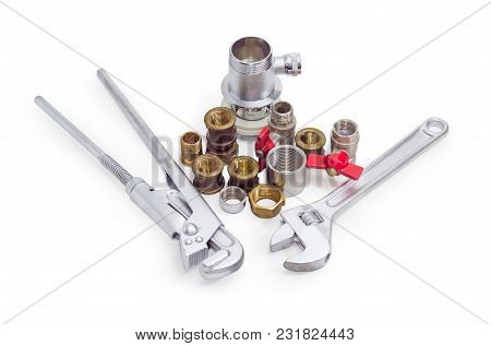 Plumber Wrench, Adjustable Wrench And Several Brass And Steel Pipe Couplings, Adapters, Drain, Nuts,
