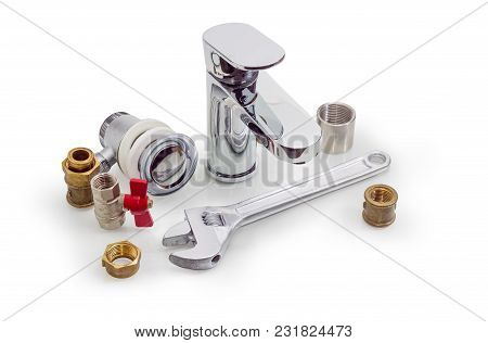 Handle Mixer Tap, Several Brass And Steel Pipe Couplings, Adapters, Drain, Nuts, Ball Valve And Adju