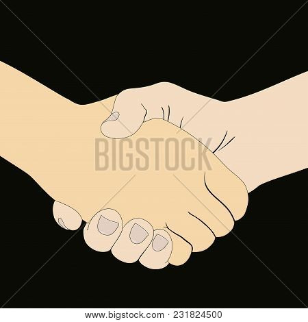 Vectorial Image Of Handshake Of Two Hands On A White Background.