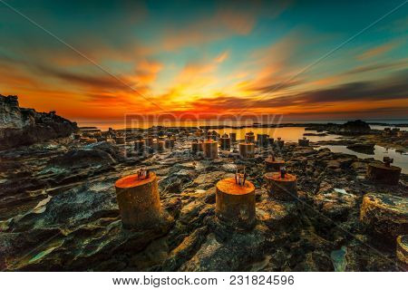 Amazing sunset view, beautiful orange evening sun light in the sky over Mediterranean sea, peaceful  tranquil nature of Lebanon