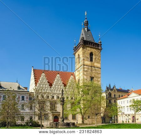 South Facade And Tower Of The Gothic New Town Hall Built In The 14th-15th Century In Prague Against