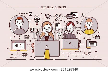 Friendly Online Specialists Wearing Headphones With Microphones Sit At Computer Monitors And Answer