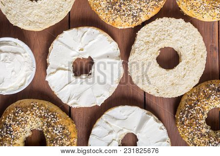 Healthy Homemade Bagels With Cream Cheese . Food Backround