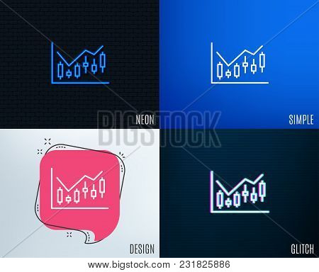 Glitch, Neon Effect. Candlestick Chart Line Icon. Financial Graph Sign. Stock Exchange Symbol. Busin