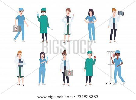 Set Of Female Medical Workers. Bundle Of Women Medics Dressed In White Coats And Scrubs - Doctor Or