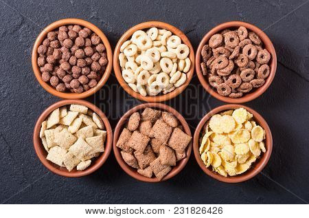 Cereals . Breakfast With Milk And Chocolate Cornflakes In Bowl .