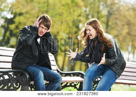 Relationship problem. Young people conflict in park