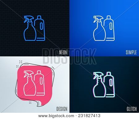 Glitch, Neon Effect. Cleaning Spray And Shampoo Line Icon. Washing Liquid Or Cleanser Symbol. Housek