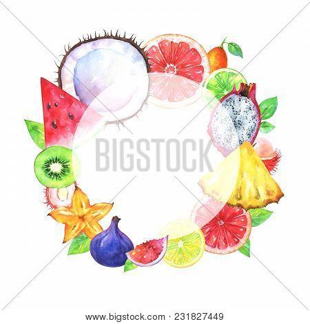 Hand Painted Round Fruit Frame. Watercolor Pineapple, Carambola, Coconut, Fig, Kiwi, Rambutan, Water