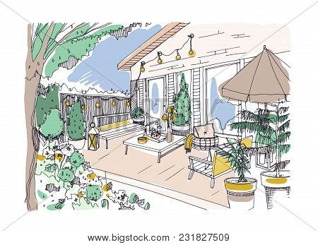 Freehand Drawing Of Backyard Patio Or Terrace Furnished In Scandinavian Hygge Style. House Veranda W