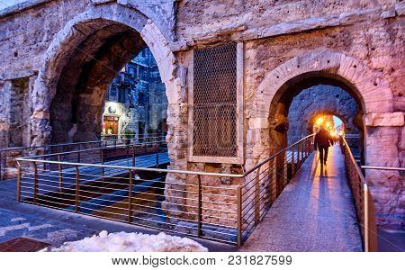 Porta Preatoria Aosta Valle D`aosta - Italy.