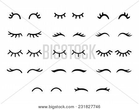 Vector Unicorn Eyelashes. Cartoon Animal Eyes. Closed Woman Eyes. Icon Set.