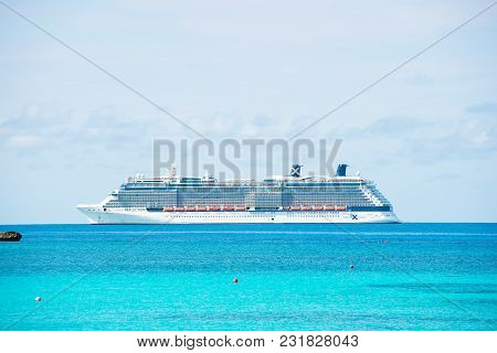 Great Stirrup Cay, Bahamas - January 08, 2016: Ocean Liner Ship In Sea On Blue Sky. Water Transport,