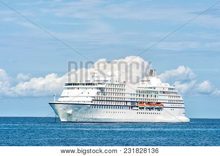 Ocean Liner On Blue Seascape. Ship In Sea In Great Stirrup Cay, Bahamas. Water Transport, Vessel. Ad