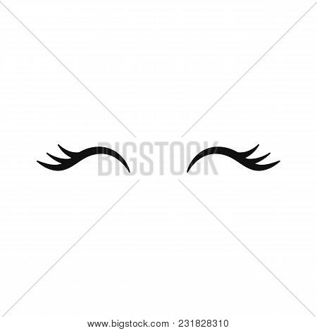 Vector Unicorn Eyelashes. Closed Woman Eyes. Vector Icon.