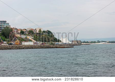 Nesebar, Bulgaria - August 21, 2017: View Of The Shoreline Of Sunny Beach (slanchev Bryag). Nesebar