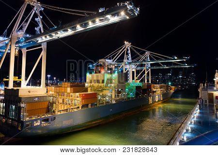 Miami, Usa - November, 23, 2015: Port Or Terminal With Night Illumination. Maritime Container Port W