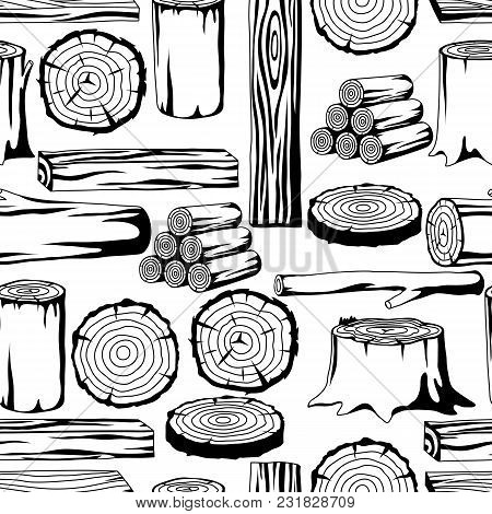 Seamless Pattern With Wood Logs, Trunks And Planks. Background For Forestry And Lumber Industry.