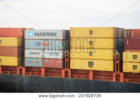 Miami, Usa - March, 18, 2016: Cargo Containers Stacked In Port. Container Port Or Terminal. Freight,