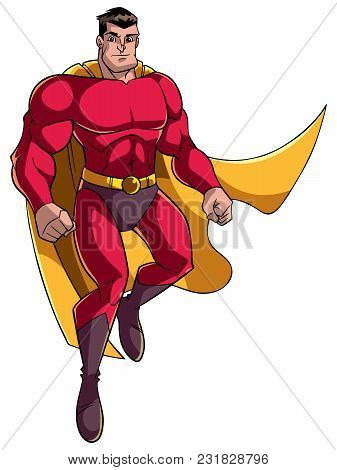 Full Length Illustration Of A Strong And Brave Cartoon Superhero Wearing Cape And Red Costume While