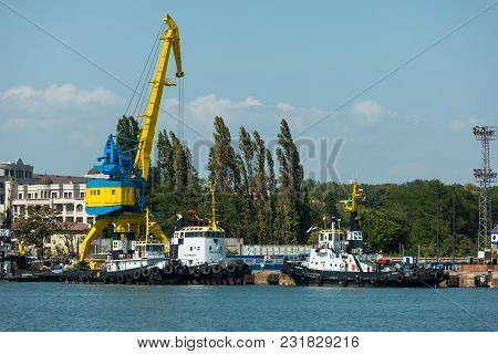 Burgas, Bulgaria - August 20, 2017: View Of The Water Area Of The Seaport Of Burgas. Burgas, Is The