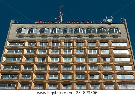 Burgas, Bulgaria - August 20, 2017: Facade Of Modern Business Hotel