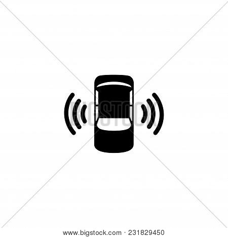 Car Assistant And Traffic Monitoring System. Flat Vector Icon. Simple Black Symbol On White Backgrou