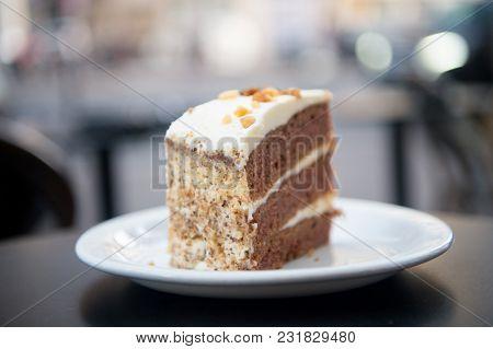 Cake With Cream, Food. Cake Slice On White Plate In Paris, France, Dessert. Temptation, Appetite Con